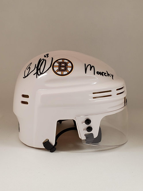 """Brad Marchand Boston Bruins signed White Mini-Helmet inscribed """"Marchy"""""""
