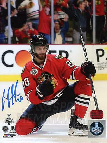 Brandon Saad Chicago Blackhawks Signed Autographed Goal Celebration Finals 8x10