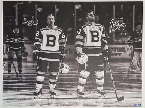 Brad Marchand Patrice Bergeron DUAL signed 30x40 CANVAS B&W WC