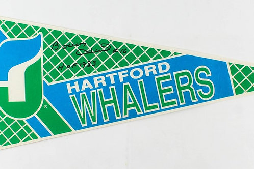 Bobby Hull Hartford Whalers signed Whalers Pennant inscribed HOF1983