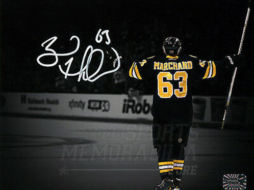 Brad Marchand Boston Bruins Signed Autograph Goal Celebration Spotlight 16x20 W