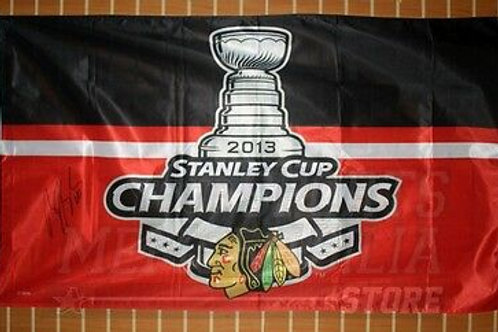 Brandon Saad Chicago Blackhawks signed autographed Stanley cup champions flag