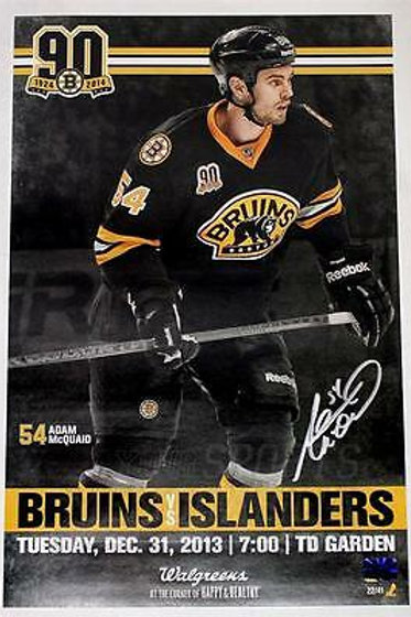Adam McQuaid Boston Bruins Signed Autographed 2013 90th Game Day Poster 11x17