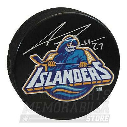 Anders Lee New York Islanders Signed Autographed Fisherman Wave Logo Hockey Puck