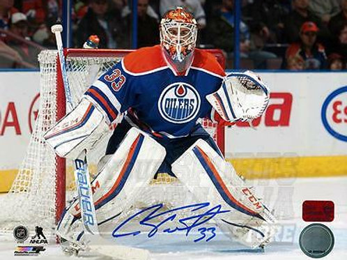 Cam Talbot Edmonton Oilers Signed Autogra?phed Goaltending Home Action 16x20 PF