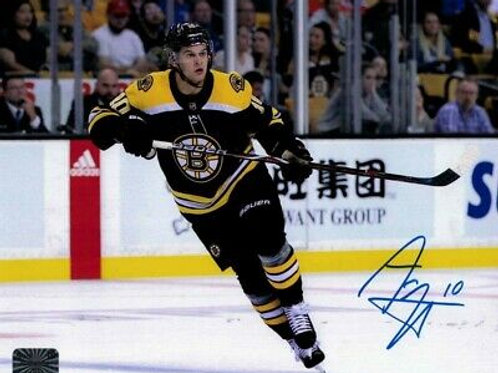 Anders Bjork Boston Bruins Signed Autographed Home Action Skate 8x10