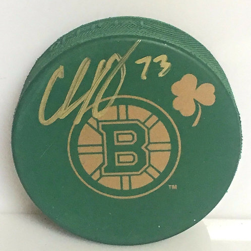 Charlie McAvoy Boston Bruins Signed Autographed St. Patrick's green  hockey Puck