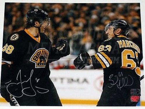 Brad Marchand Jaromir Jagr Boston Bruins Signed Autographed Celebration 11x14