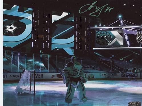 Anton Khudobin Dallas Stars signed 16x20 Green Neon Pregame