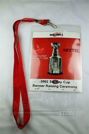 2002 Red Wings Stanley Cup Banner Raising Ceremony ticket, lanyard & ticket stub