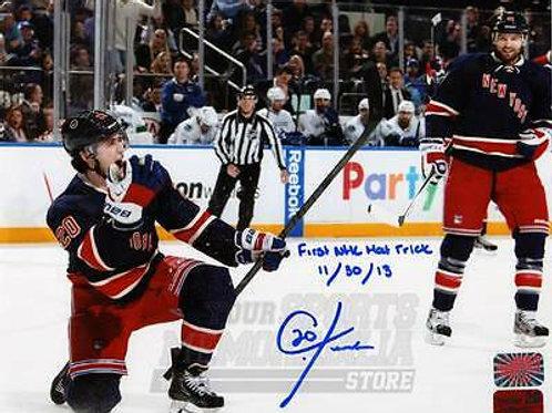 Chris Kreider New York Rangers Signed Autographe?d 1st Hat Trick Inscribed 16x20