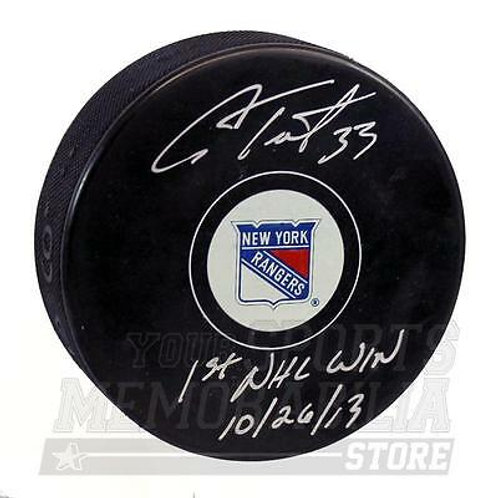 Cam Talbot New York Rangers Signed Autographed 1st NHL Win Hockey Puck Oilers