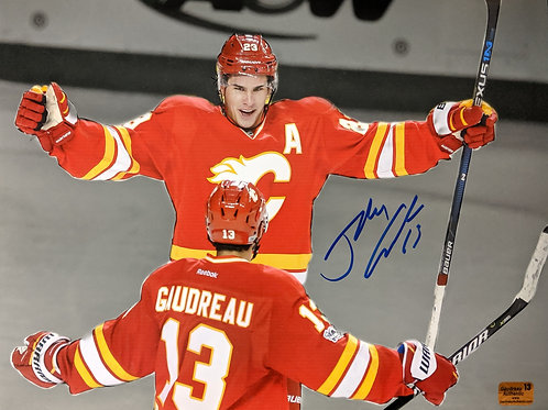 Johnny Gaudreau Calgary Flames Signed Autographed Spotlight Celly Monahan 11x14