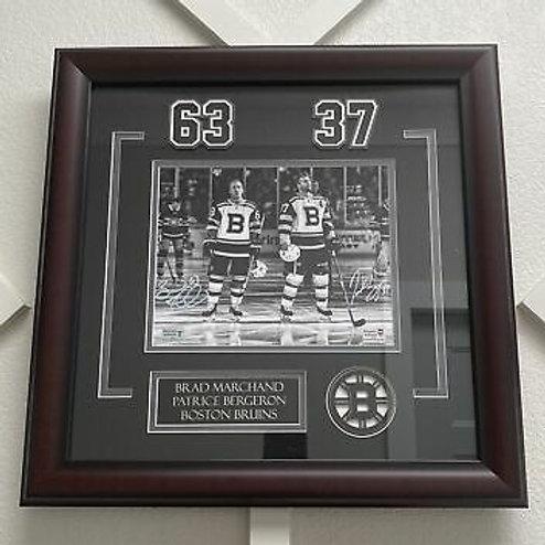 Brad Marchand Patrice Bergeron Boston Bruins DUAL signed FRAMED 8x10 B&W
