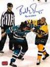 Bobby Robins Boston Providence Bruins Signed Fight vs Mashinter 8x10 Buzzsaw