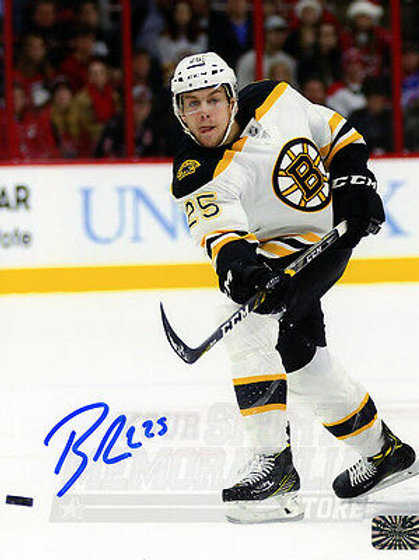 Brandon Carlo Boston Bruins Signed Autographed Away Action Shot 16x20