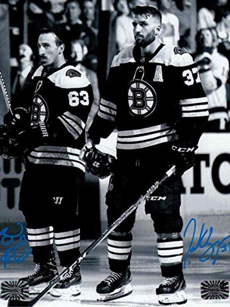 Patrice Bergeron Brad Marchand Boston Bruins signed b&w 16x20