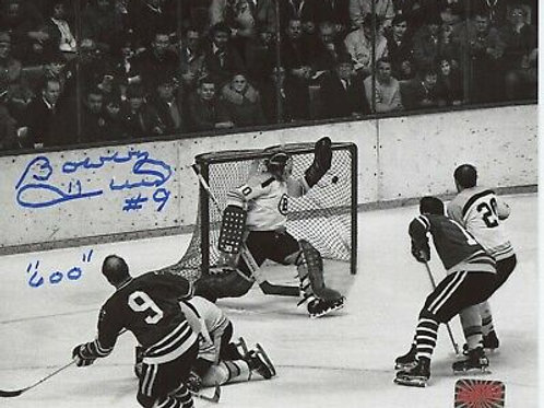 "Bobby Hull Chicago Blackhawks signed 8x10 600th goal! inscribed ""600"""