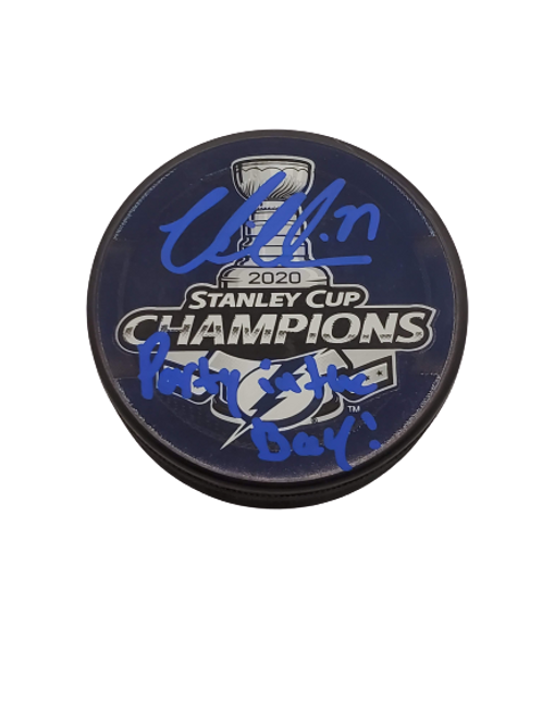 "Victor Hedman Tampa Bay Lightning signed 2020 SCC puck ""Party in the Bay"""
