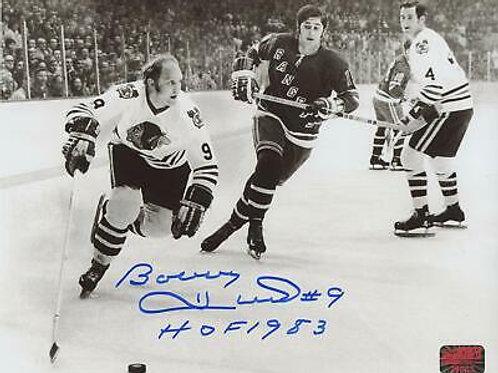 Bobby Hull Chicago Blackhawks Signed Inscribed HOF 1983 Black and White 8x10