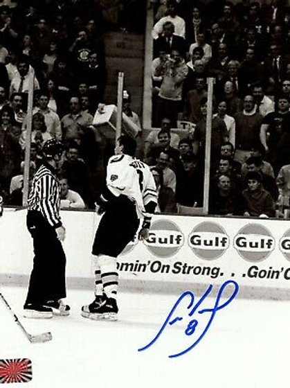 Cam Neely Boston Bruins Signed Autographed B/W Leaving the Ice After Fight 8x10