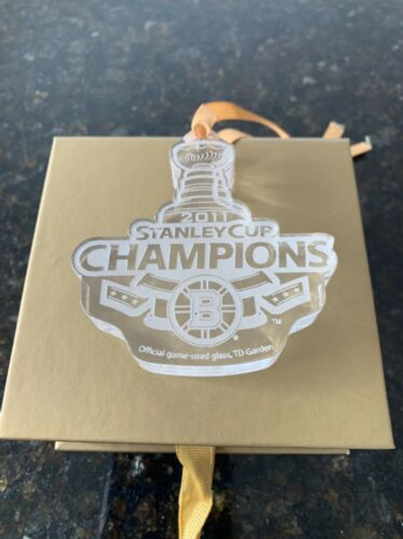 Boston Bruins 2011 Stanley Cup Champion Limited Ed Game Used Glass Xmas Ornament