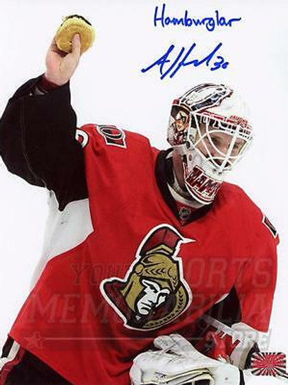 Andrew Hammond Ottawa Senators Signed Autographed Hamburglar Inscribed 8x10