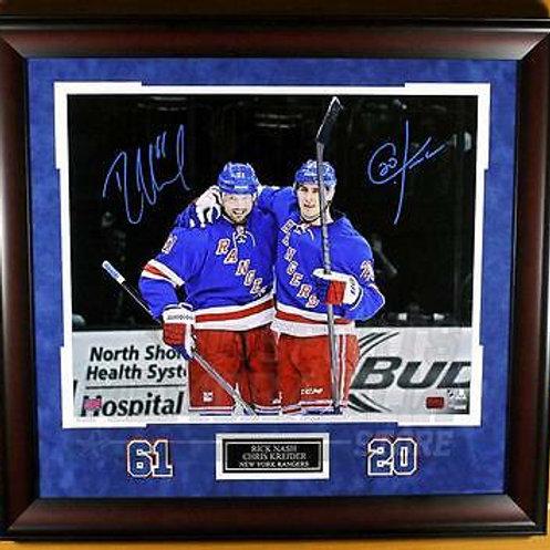 Chris Kreider Rick Nash New York Rangers Signed Autograph Spotlight 16x20 Framed
