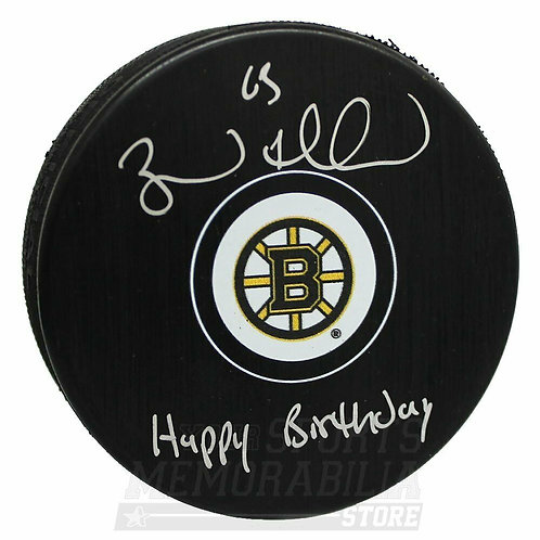 Brad Marchand Boston Bruins Signed Autographed Happy Birthday Inscribed Puck