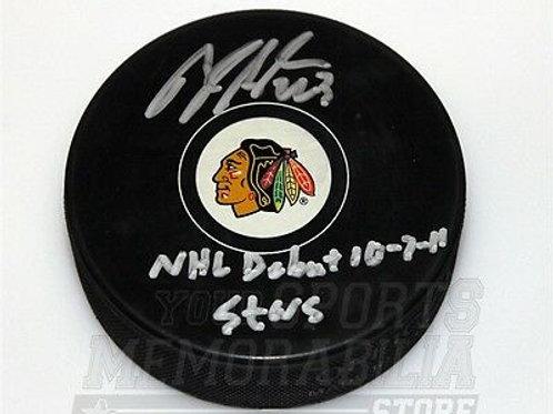 Brandon Saad Chicago Blackhawks signed inscribed Blackhawks NHL debut puck