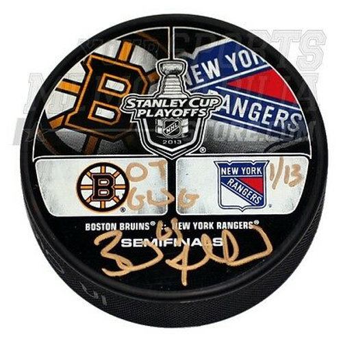 Brad Marchand Boston Bruins Signed vs Rangers Playoff Inscribed Hockey Puck LE