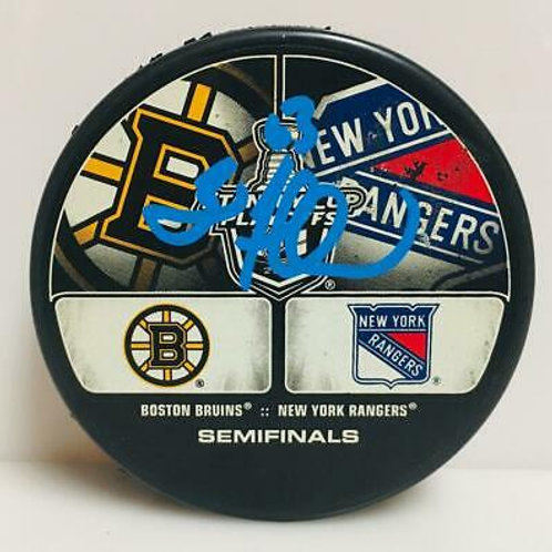 Brad Marchand Boston Bruins Signed 2013 SC Playoffs Dueling Logos Hockey Puck