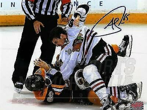 Andrew Shaw Chicago Blackhawks Signed Autographed Fight vs Marchand Bruins 16x20
