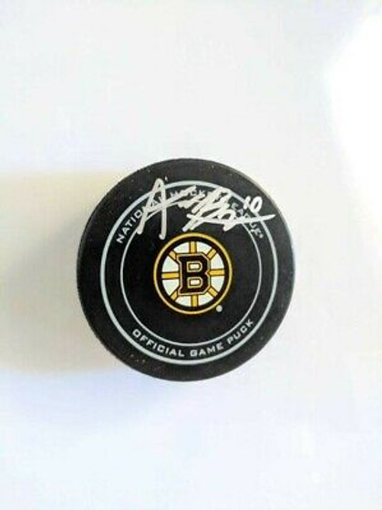 Anders Bjork Boston Bruins Signed Autographed Official Game Puck
