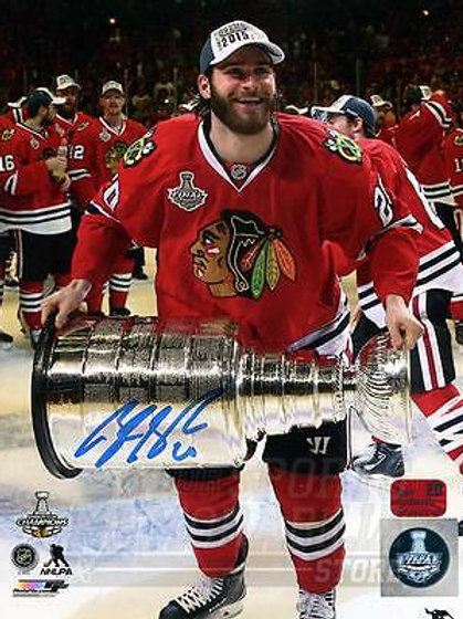 Brandon Saad Chicago Blackhawks Signed Autographed 2015 Holding Stanley Cup 8x10
