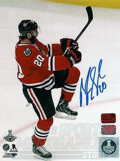 Brandon Saad Chicago Blackhawks signed autographed Goal Celebration 8x10 Photo