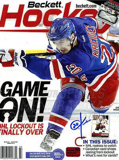 Chris Kreider New York Rangers Signed Autographed Beckett Magazine Cover 8x10