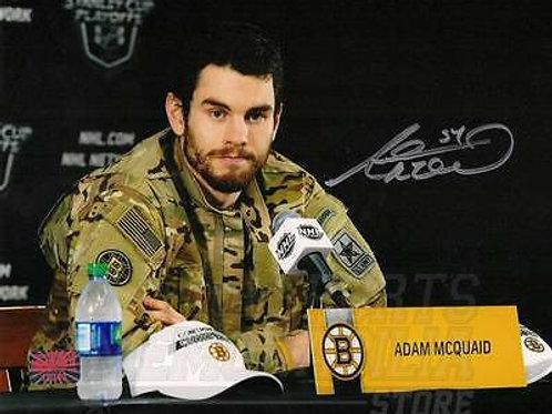 Adam McQuaid Boston Bruins Signed autographed Army Jacket Playoff hero 8x10