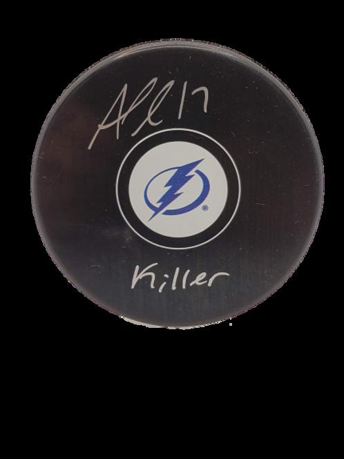 """Alex Killorn Tampa Bay Lightning signed Logo puck inscribed """"killer"""" SILVER"""