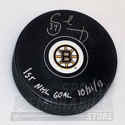 Carl Soderberg Boston Bruins Signed Autographe?d 1st NHL Goal Bruins Hockey Puck