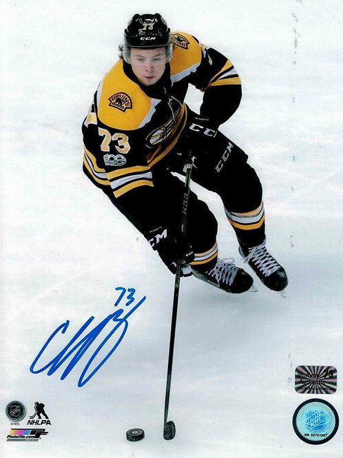 Charlie McAvoy Boston Bruins Signed autographed skating up ice 8x10