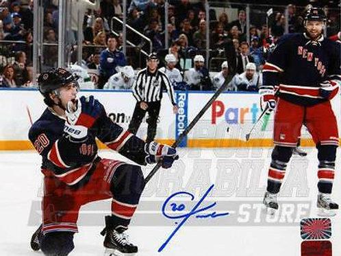 Chris Kreider New York Rangers Signed Autographe?d Fist Pump Celebration 8x10