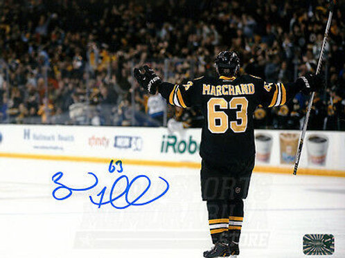 Brad Marchand Boston Bruins Signed Autographed Arms Out Goal Celebration 16x20