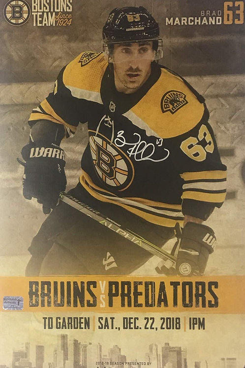 Brad Marchand Boston Bruins Signed Autographed Game Day Roster Poster