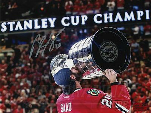 Brandon Saad Chicago Blackhawks Signed Autographed 2015 Kissing Stanley Cup 8x10