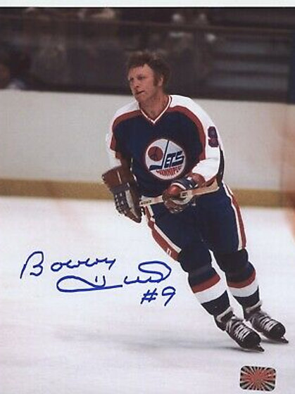 Bobby Hull Winnipeg Jets signed 8x10 Skating action photo
