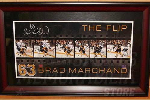 "Brad Marchand Boston Bruins Signed Sedin ""The Flip"" Filmstrip Panoramic framed"