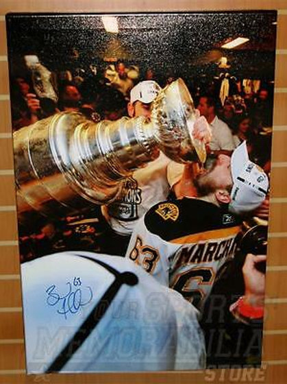 Brad Marchand Boston Bruins Signed Autographed Stanley Cup Drink 20x30 Canvas