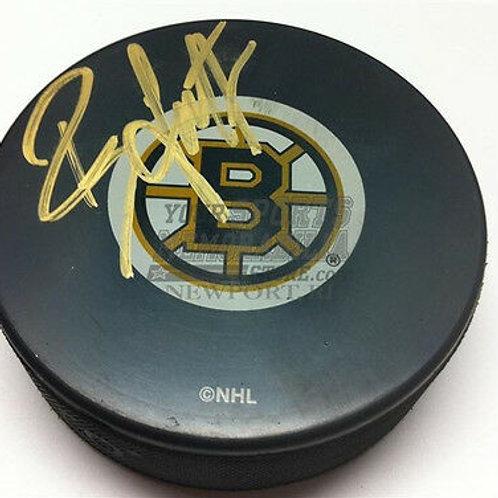 Brian Leetch Boston Bruins signed hockey puck