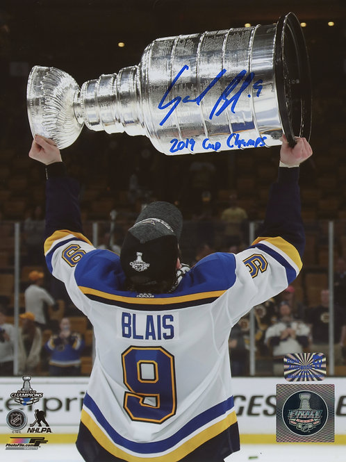 """Sammy Blais St. Louis Blues Signed Inscribed 2019 Cup Champs"""" Raising Cup 8x10 B"""